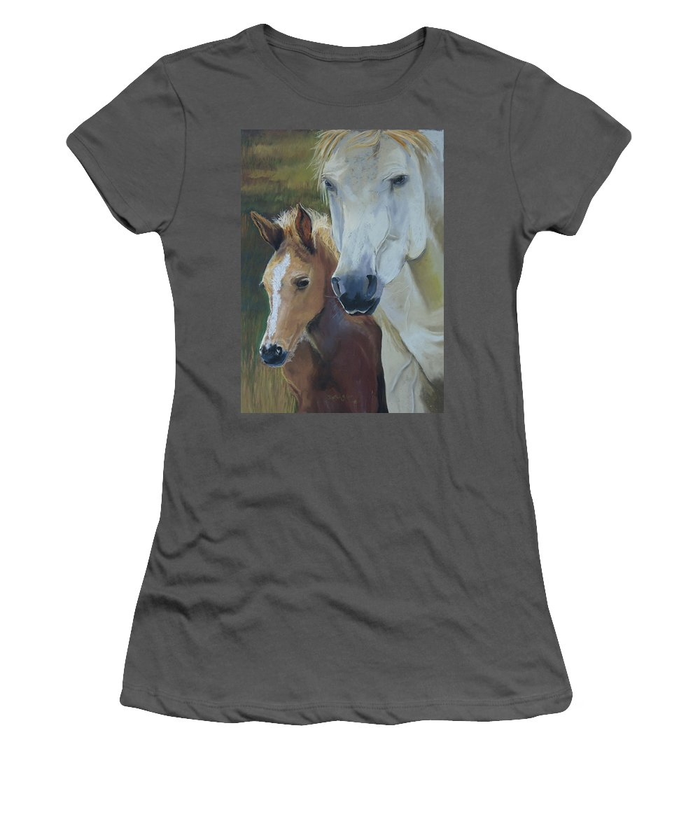 Horses Women's T-Shirt (Athletic Fit) featuring the painting Mama's Boy by Heather Coen