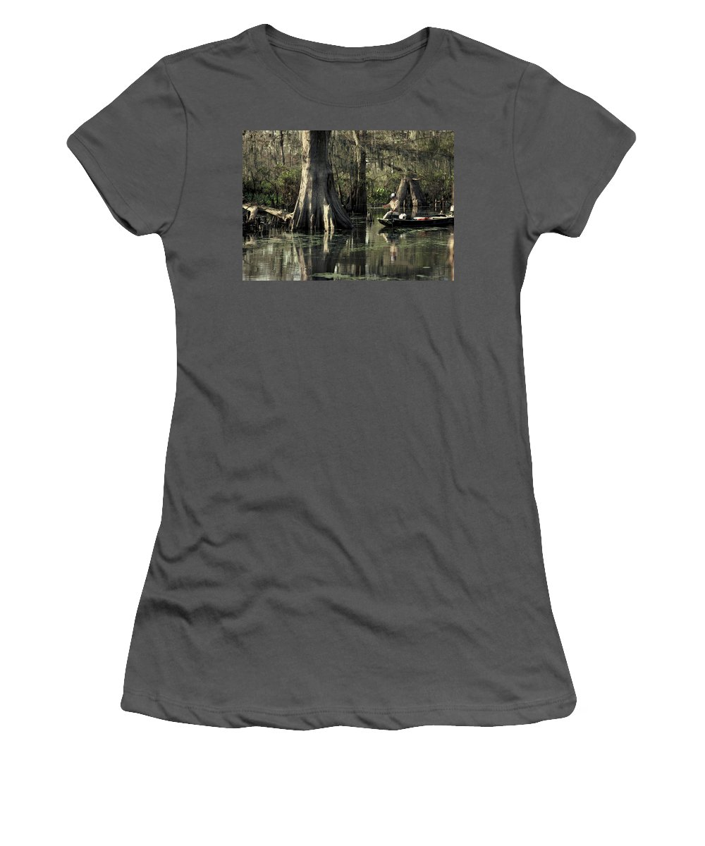 Fishing Women's T-Shirt (Athletic Fit) featuring the photograph Man Fishing In Cypress Swamp by Herman Robert