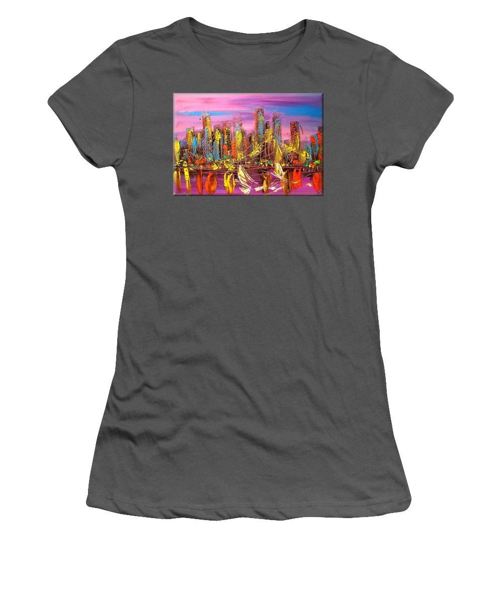 Manhattan New York Kazav Cityscape Women's T-Shirt (Athletic Fit) featuring the painting Manhattan Purple By Mark Kazav by Mark Kazav