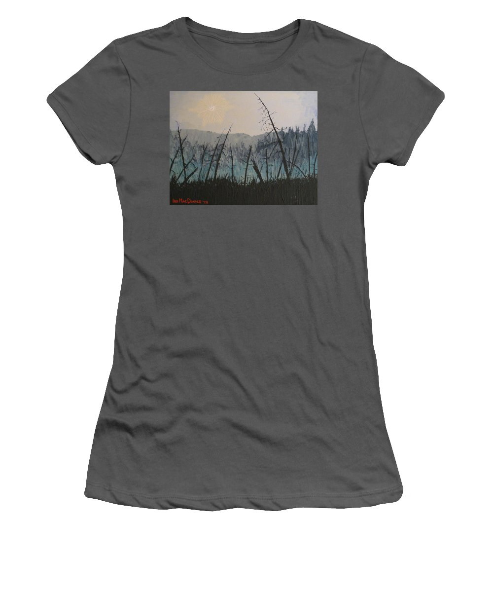 Northern Ontario Women's T-Shirt (Athletic Fit) featuring the painting Manitoulin Beaver Meadow by Ian MacDonald