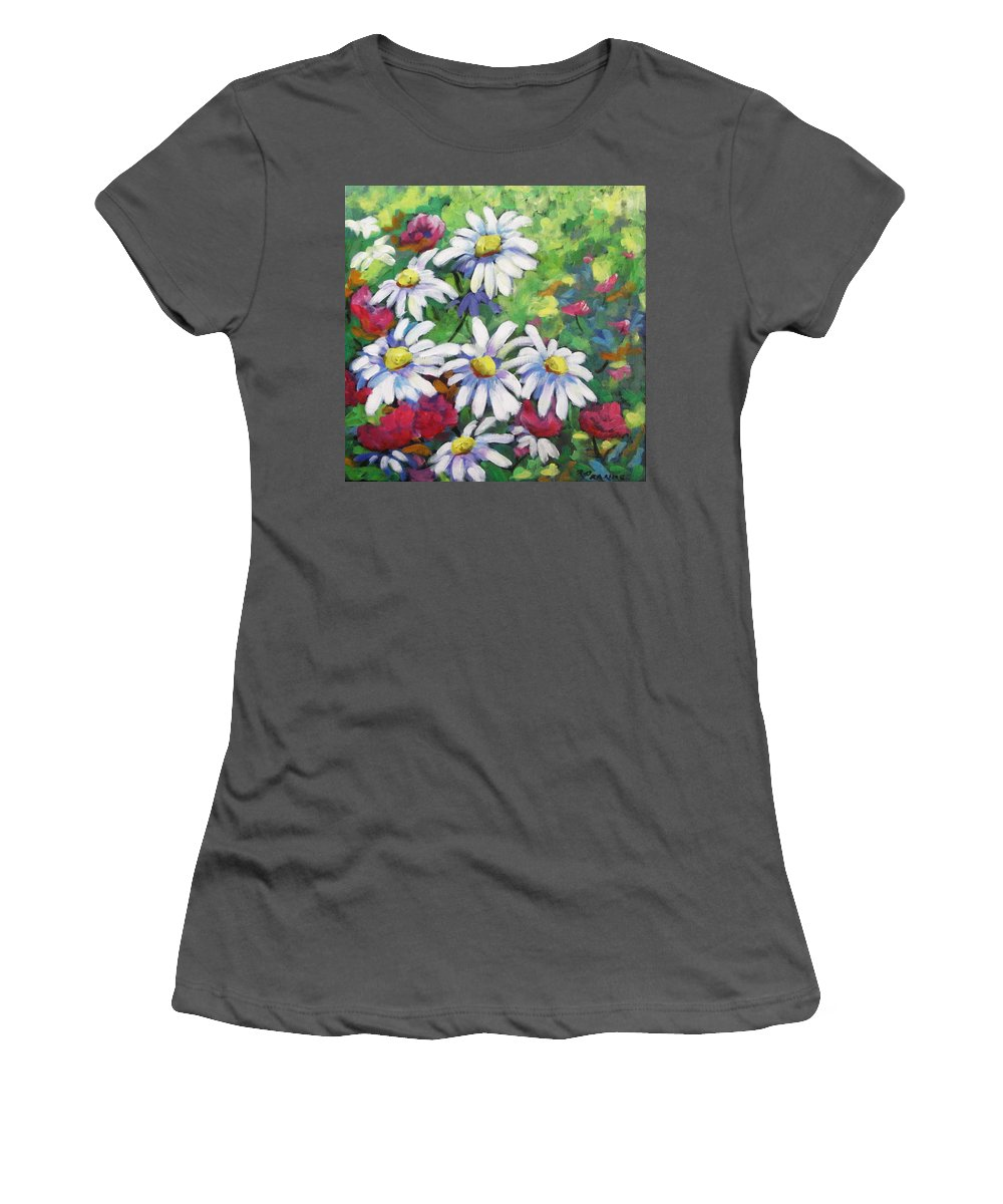 Fleurs Women's T-Shirt (Athletic Fit) featuring the painting Marguerites 001 by Richard T Pranke