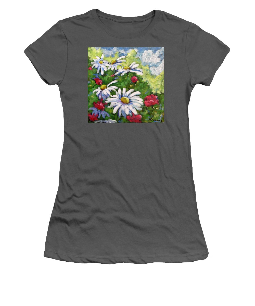 Daysy Women's T-Shirt (Athletic Fit) featuring the painting Marguerites 002 by Richard T Pranke