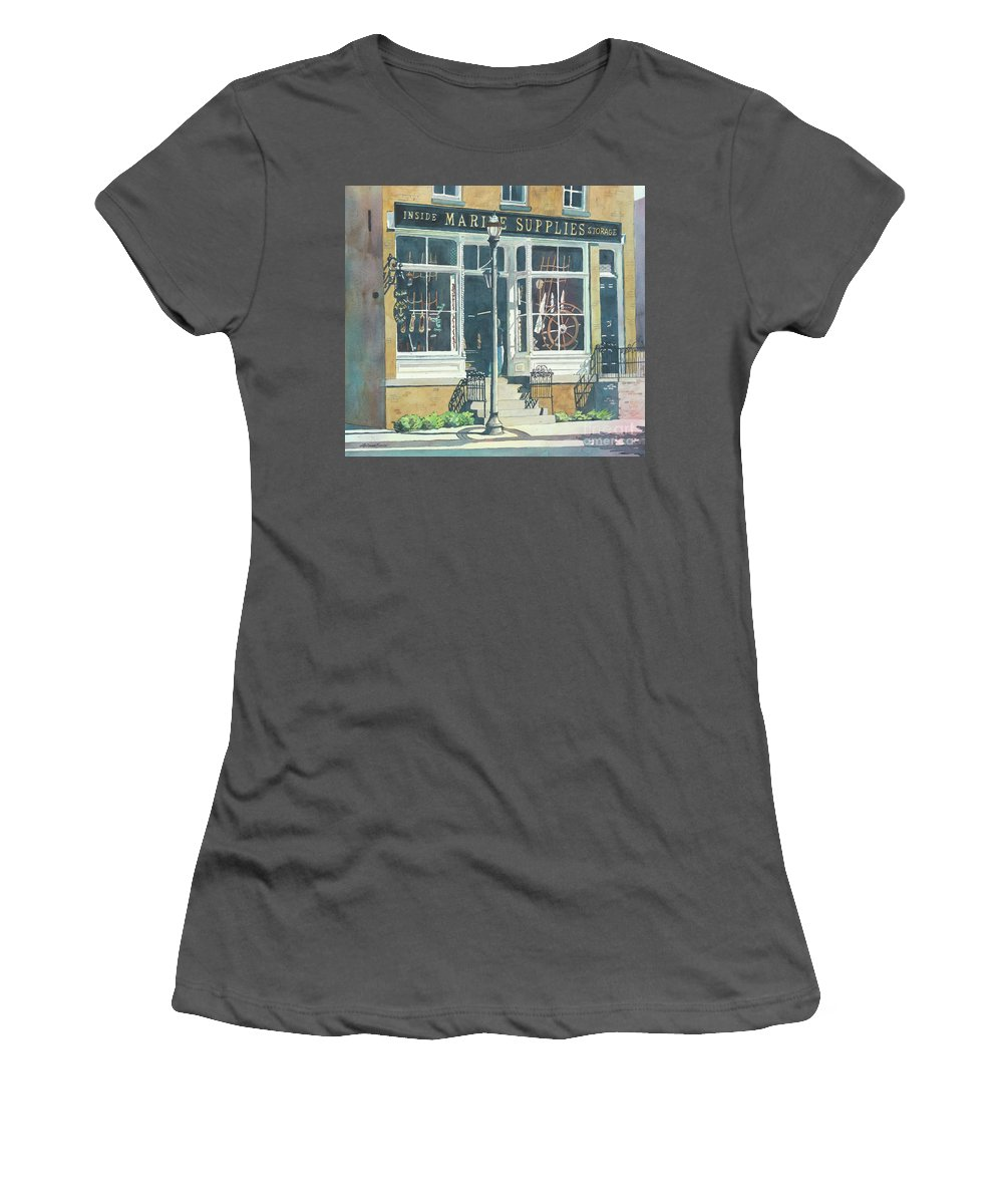 Storefronts Women's T-Shirt (Athletic Fit) featuring the painting Marine Supply Store by LeAnne Sowa