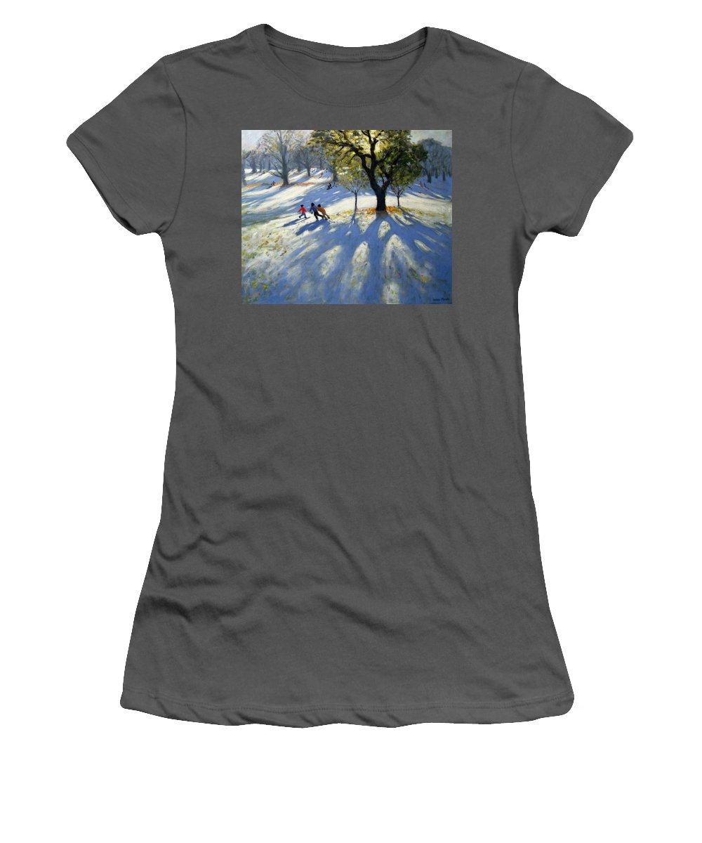 English Landscape Women's T-Shirt (Athletic Fit) featuring the painting Markeaton Park Early Snow by Andrew Macara