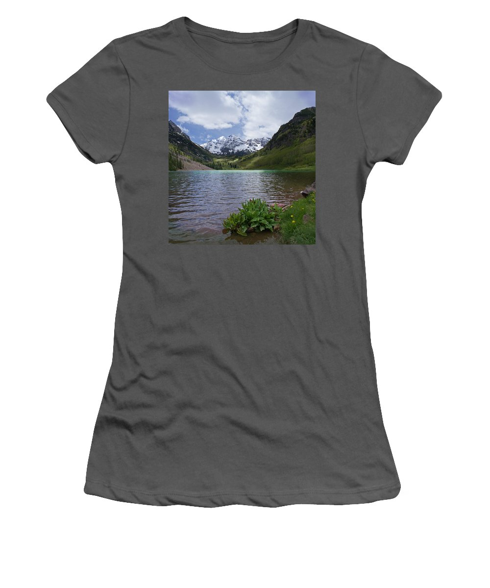Aspen Women's T-Shirt (Athletic Fit) featuring the photograph Maroon Bells Spring by Heather Coen