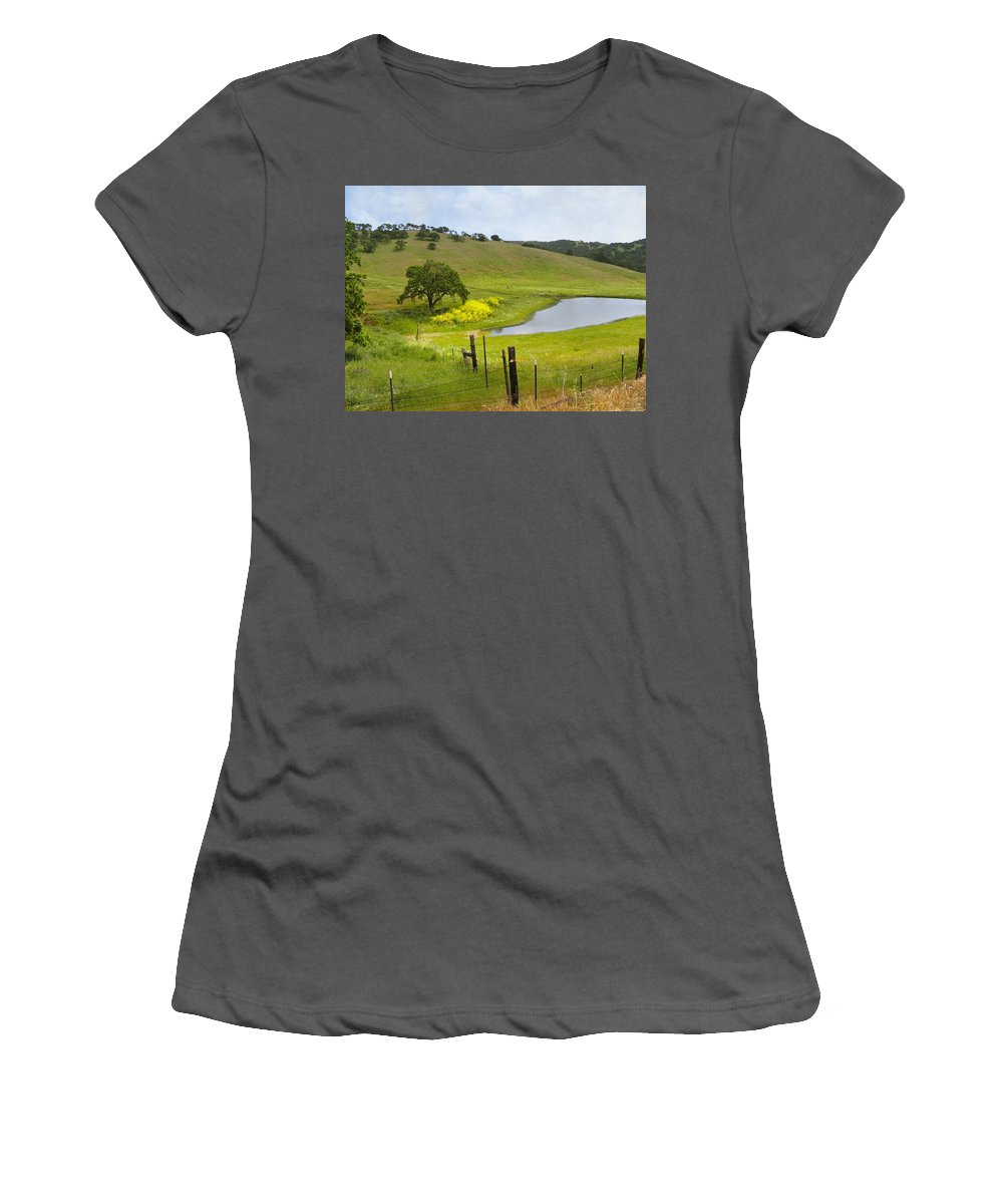 Landscape Women's T-Shirt (Athletic Fit) featuring the photograph Marsh Creek Road by Karen W Meyer