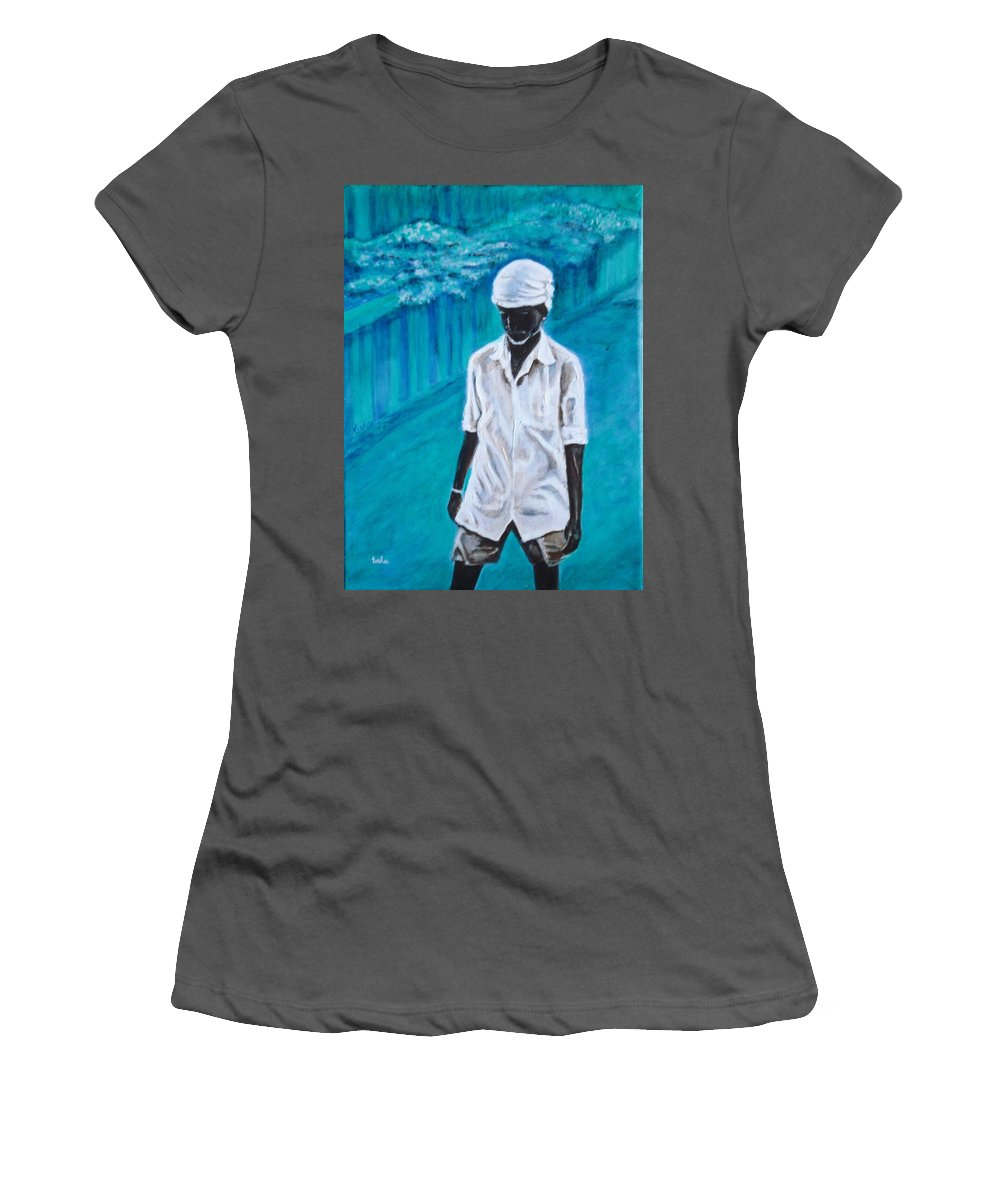 Usha Women's T-Shirt (Athletic Fit) featuring the painting Mason by Usha Shantharam