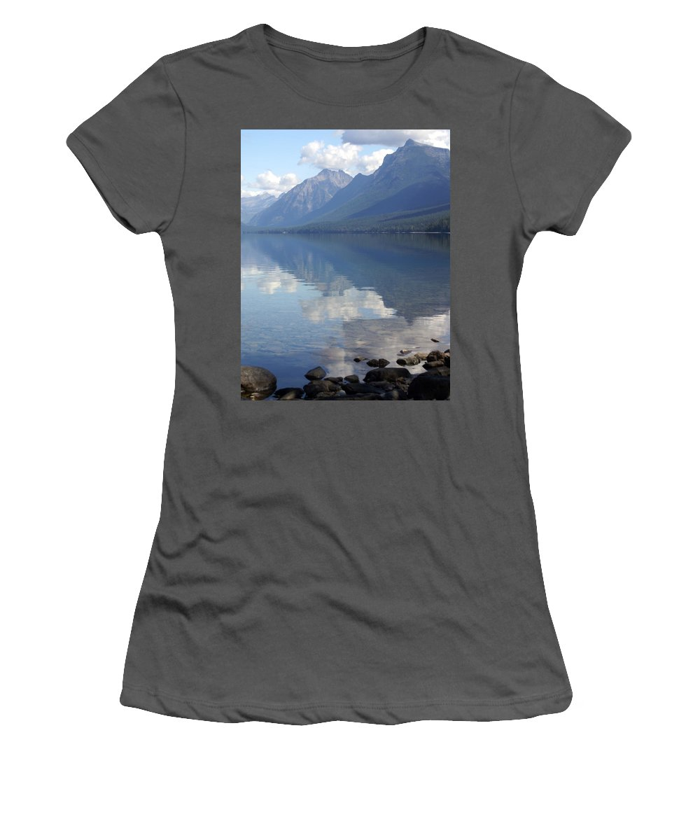 Lake Mcdonald Women's T-Shirt (Athletic Fit) featuring the photograph Mcdonald Reflection by Marty Koch