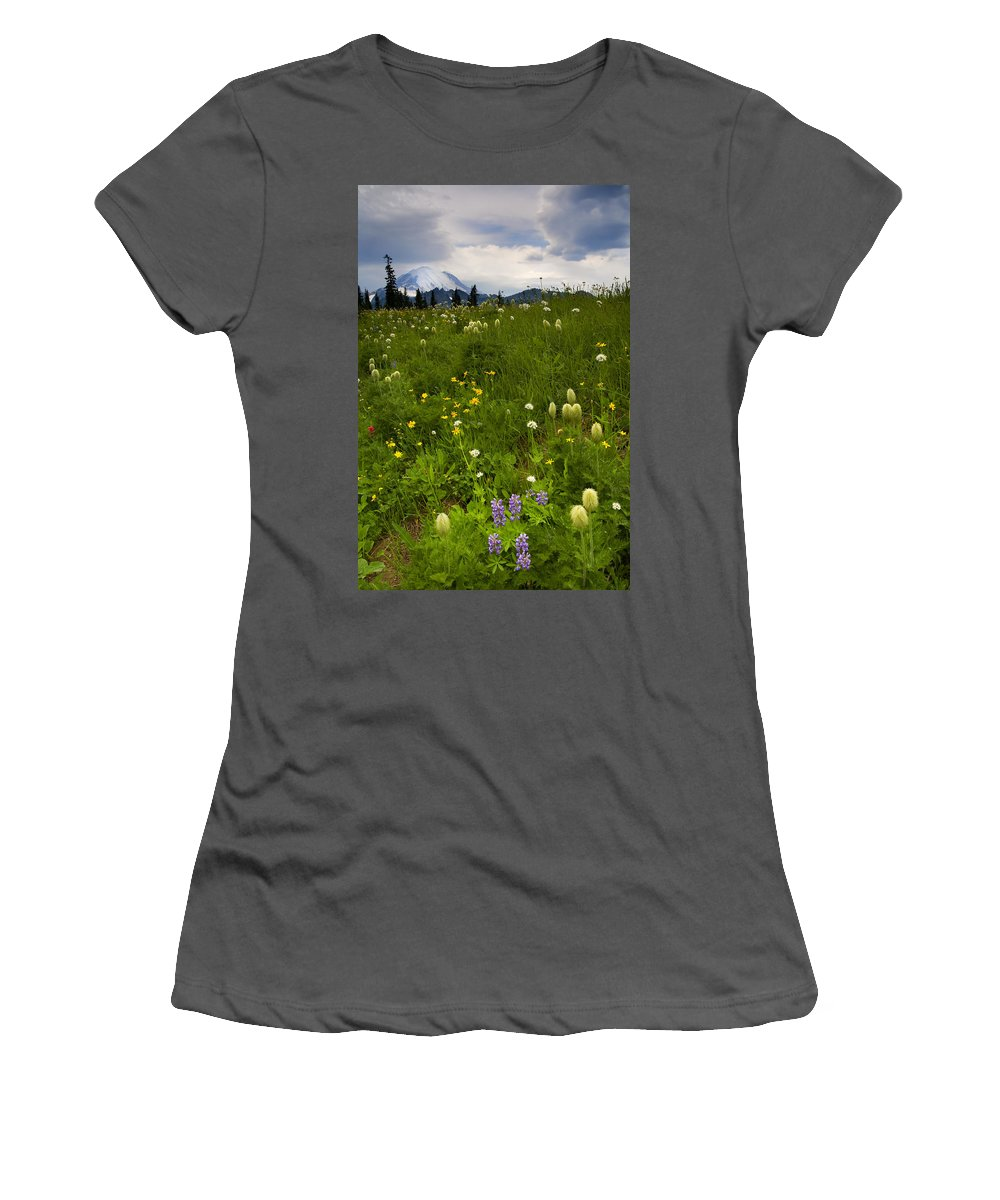 Rainier Women's T-Shirt (Athletic Fit) featuring the photograph Meadow Beneath The Storm by Mike Dawson