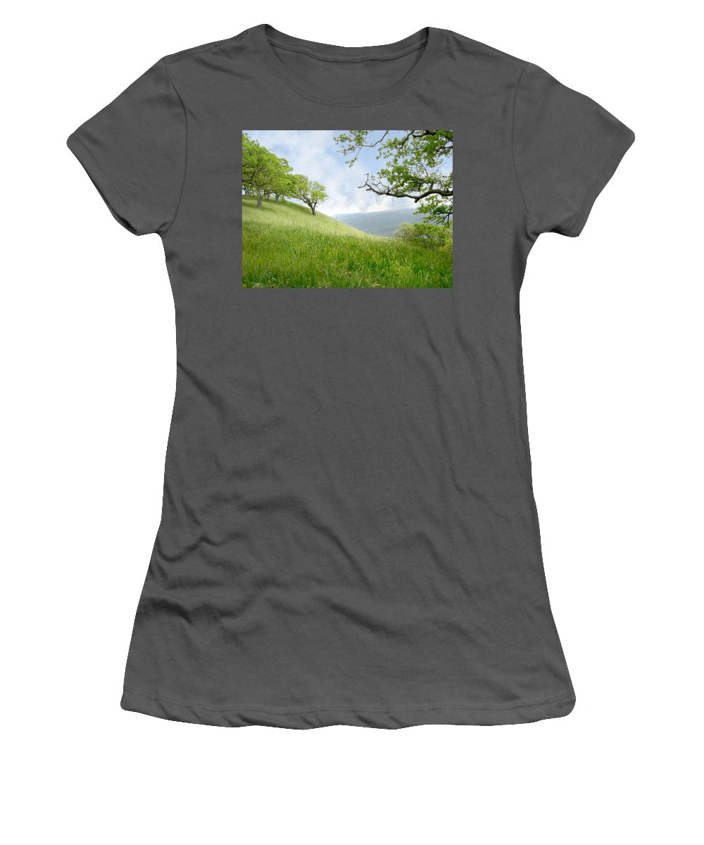 Landscape Women's T-Shirt (Athletic Fit) featuring the photograph Meadow View Spring by Karen W Meyer