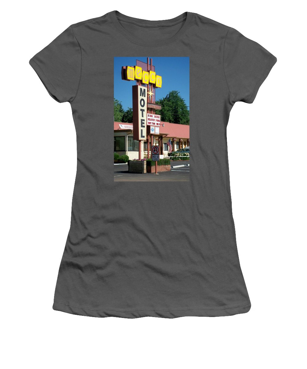 Vintage Motel Signs Women's T-Shirt (Athletic Fit) featuring the photograph Mecca Motel by Anita Burgermeister