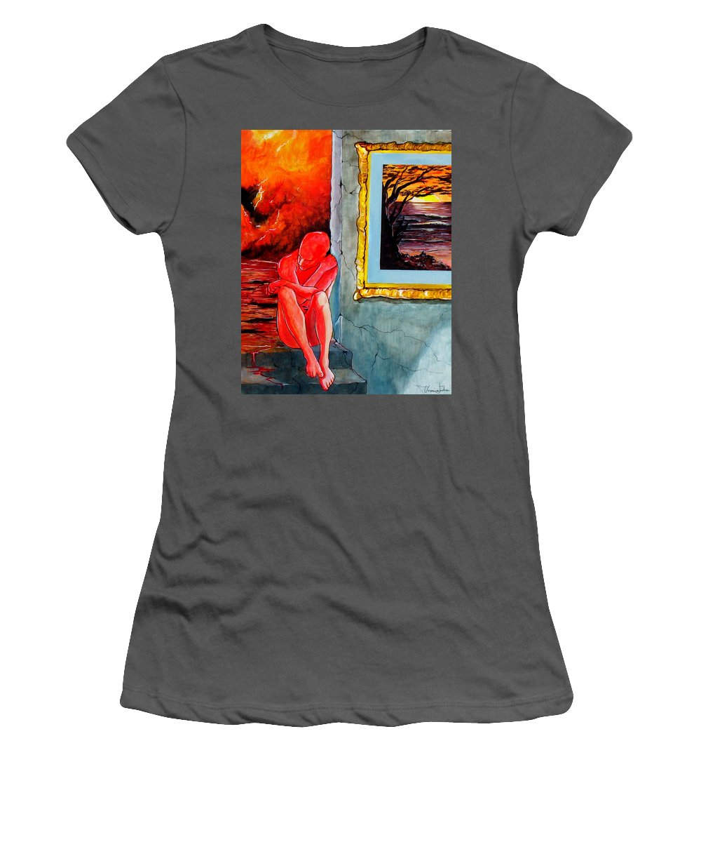 War Sunset Bombs Explosion Wait Loneliness Frustration Women's T-Shirt (Athletic Fit) featuring the painting Memoirs Of A Bloody Sunset by Veronica Jackson