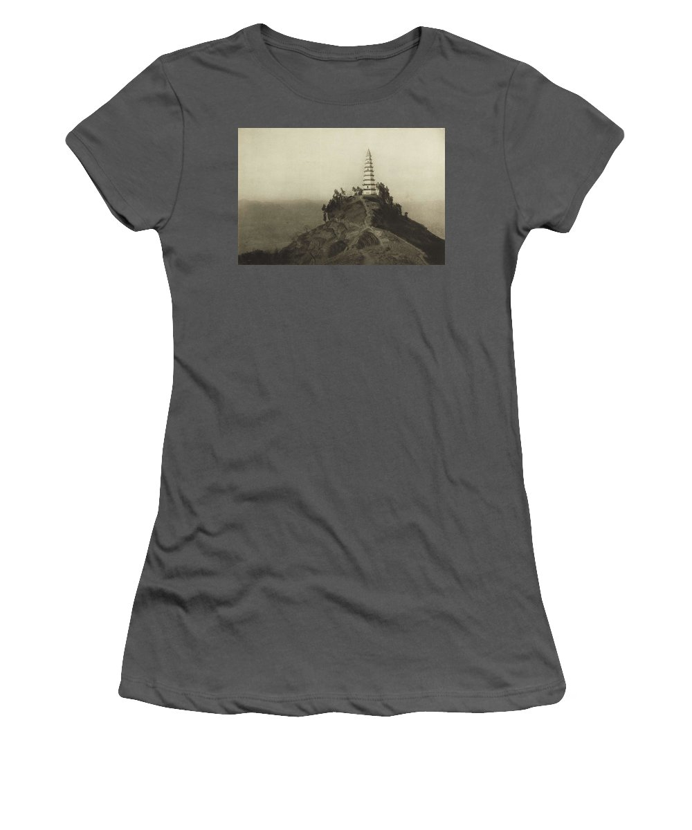 Nature Women's T-Shirt (Athletic Fit) featuring the painting Mennie, Donald The Grandeur Of The Gorges. Fifty Photographic Studies... Of China's Great Waterway, by Mennie Donald