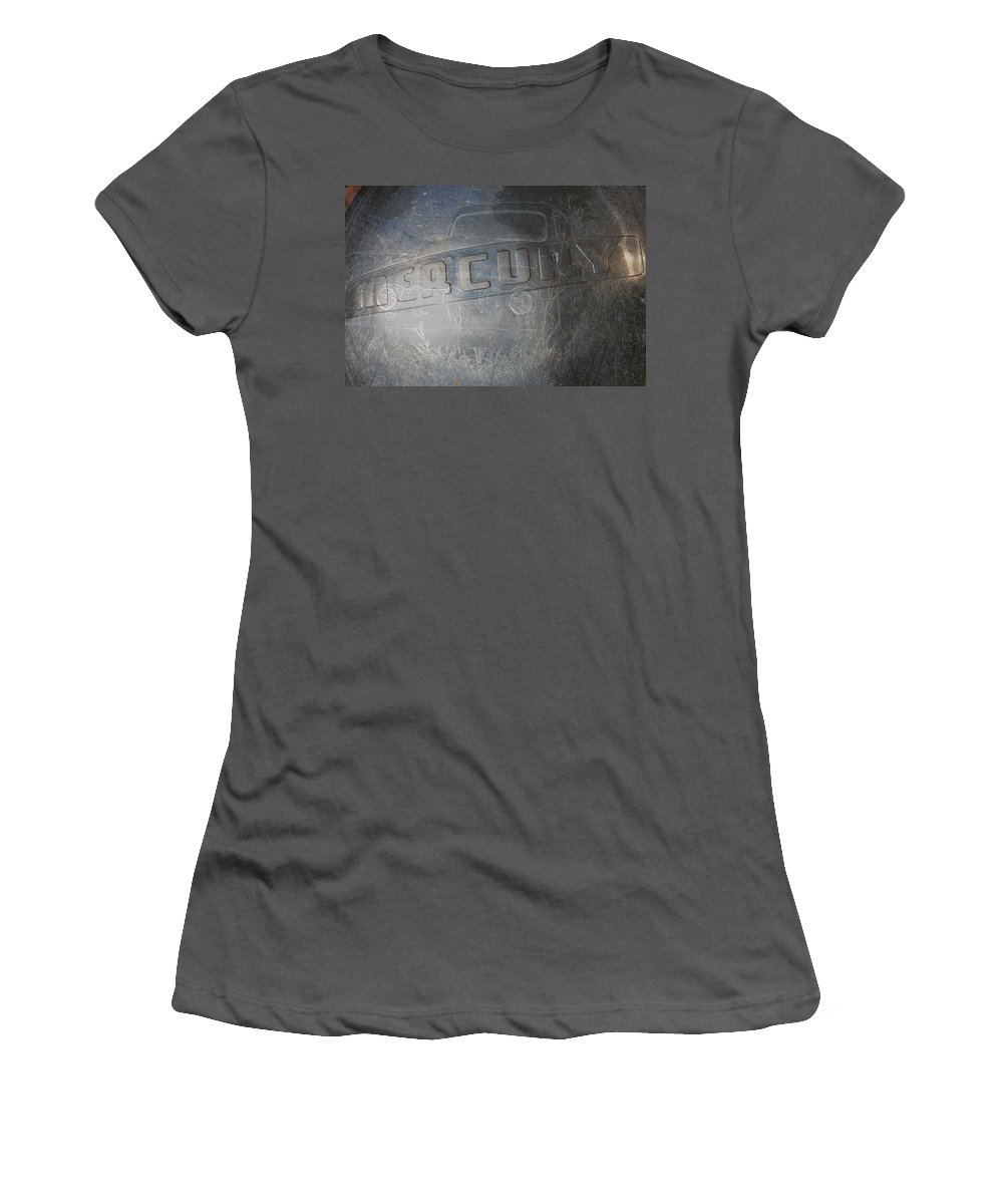 Mercury Truck Antique Auto Old Vehicle Hubcap Farm Auto Graveyard Women's T-Shirt (Athletic Fit) featuring the photograph Mercury by Andrea Lawrence