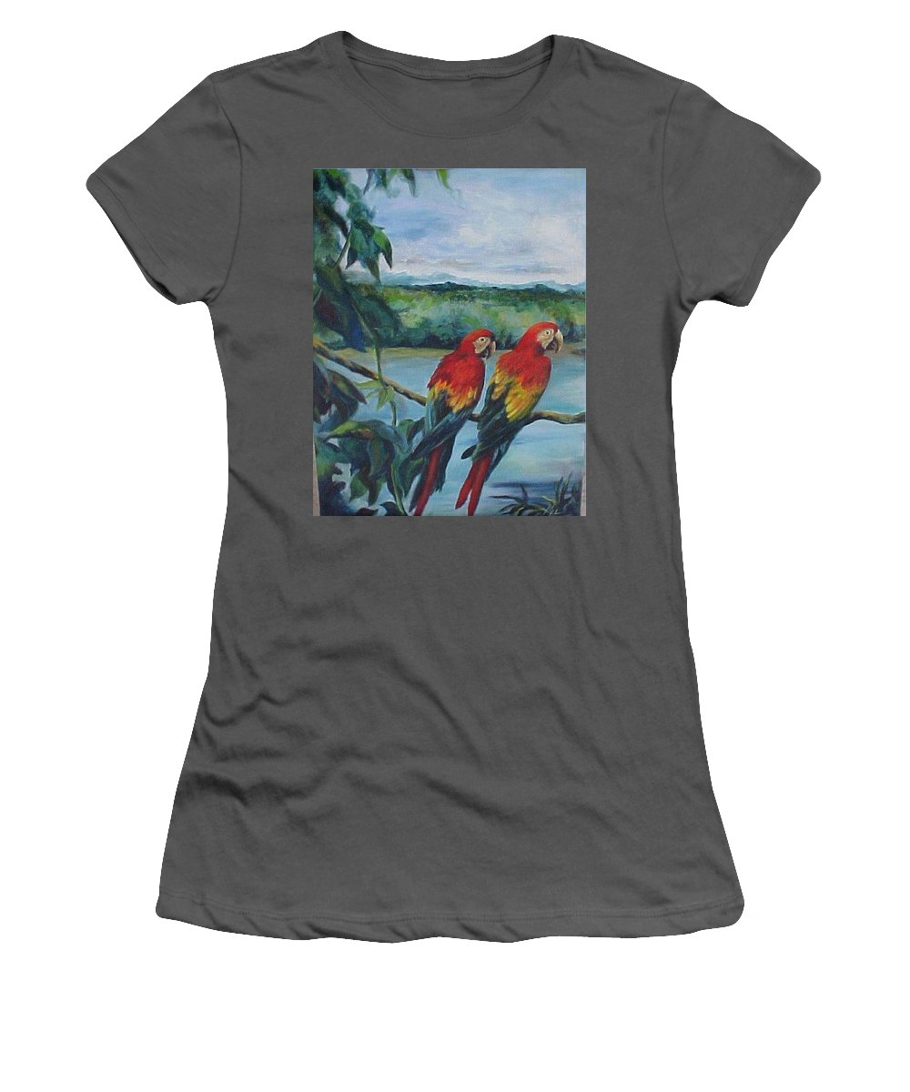 Birds Women's T-Shirt (Athletic Fit) featuring the painting Merylee's Parrots by Melody Horton Karandjeff