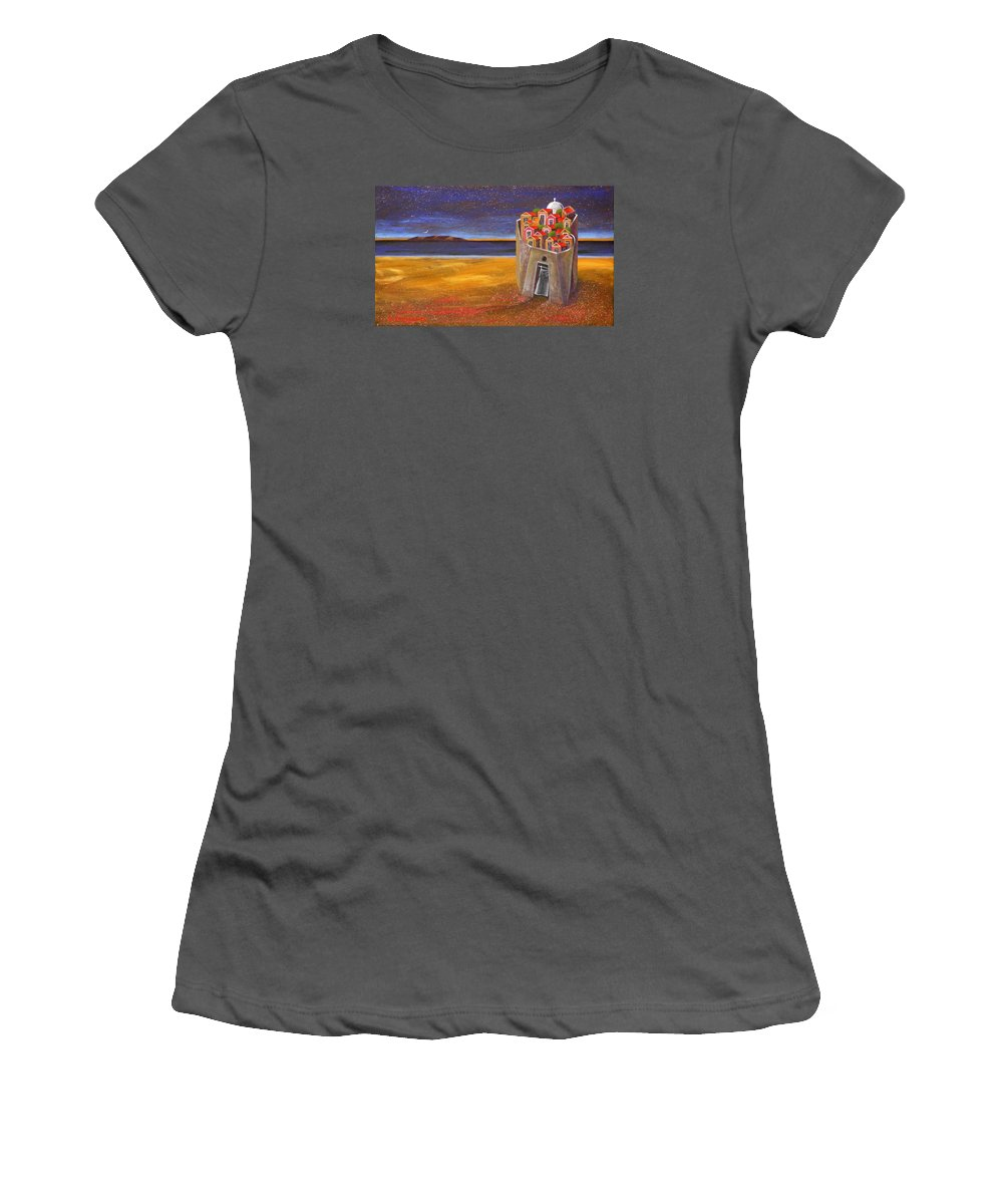 Superrealism Women's T-Shirt (Athletic Fit) featuring the painting Mesi Castle Village by Dimitris Milionis