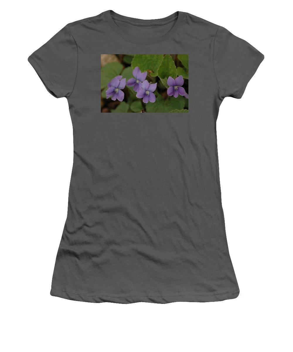 Usa Women's T-Shirt (Athletic Fit) featuring the photograph Michigan Purple Spring Flowers by LeeAnn McLaneGoetz McLaneGoetzStudioLLCcom