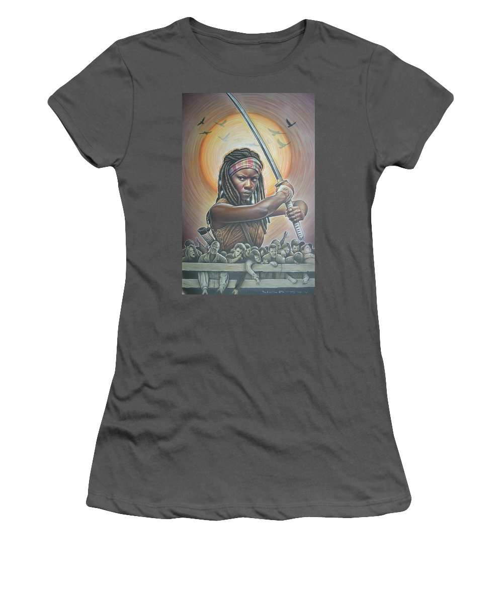 Walkingdead Women's T-Shirt (Athletic Fit) featuring the painting Michonne by David Easterly
