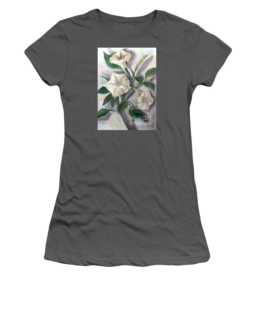 Flower Women's T-Shirt (Athletic Fit) featuring the painting Midnight Ghost by Randy Burns