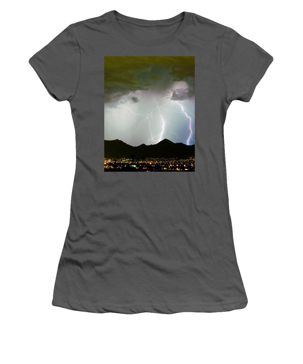 Lightning Women's T-Shirt (Athletic Fit) featuring the photograph Midnight Hour by James BO Insogna