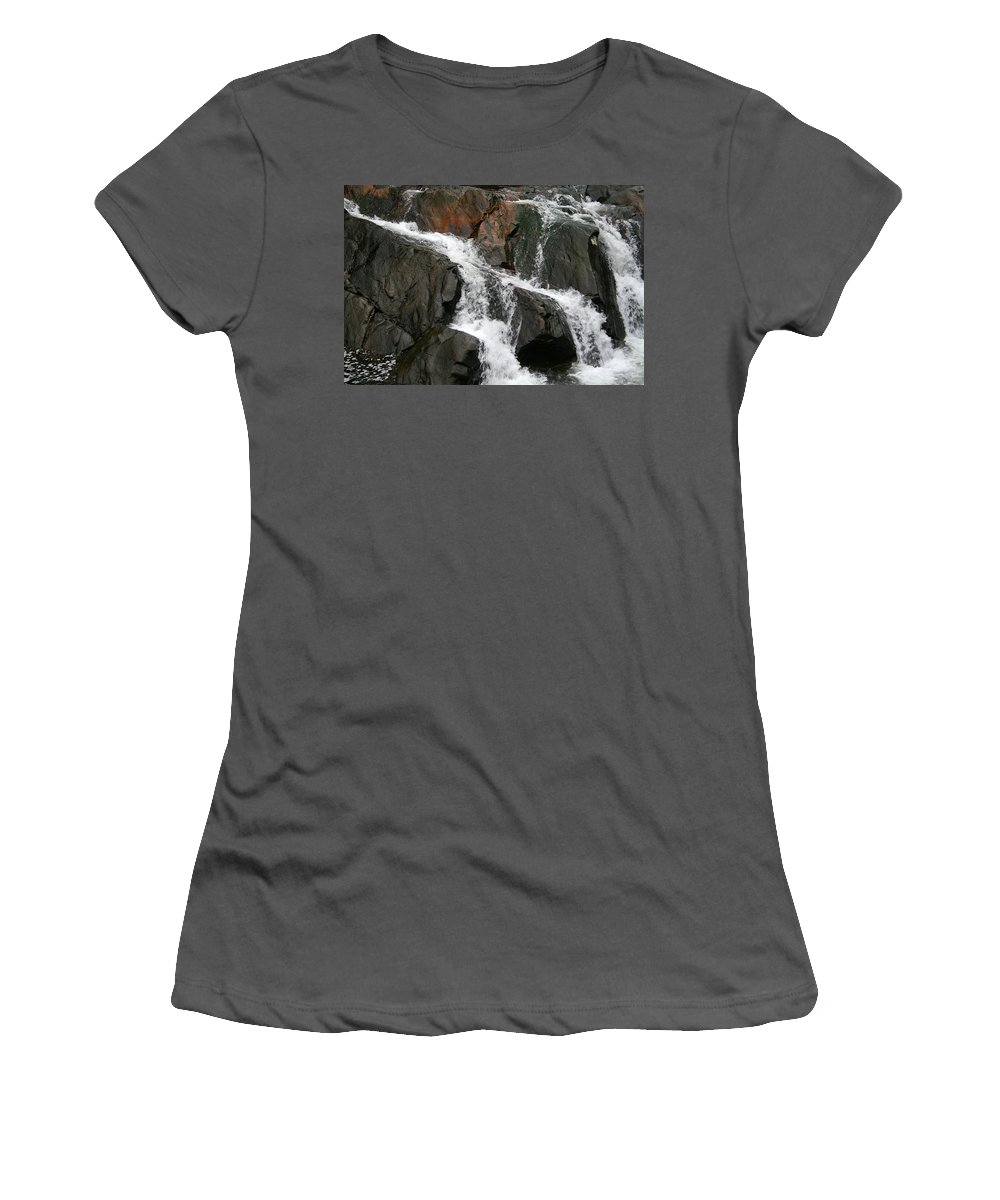 Water Waterfall Rush Rushing Cold River Creek Stream Rock Stone Wave White Wet Women's T-Shirt (Athletic Fit) featuring the photograph Might by Andrei Shliakhau