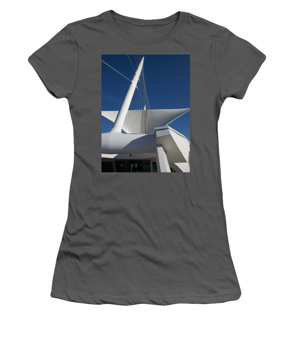Mam Women's T-Shirt (Athletic Fit) featuring the photograph Milwaukee Art Museum Cropped by Anita Burgermeister