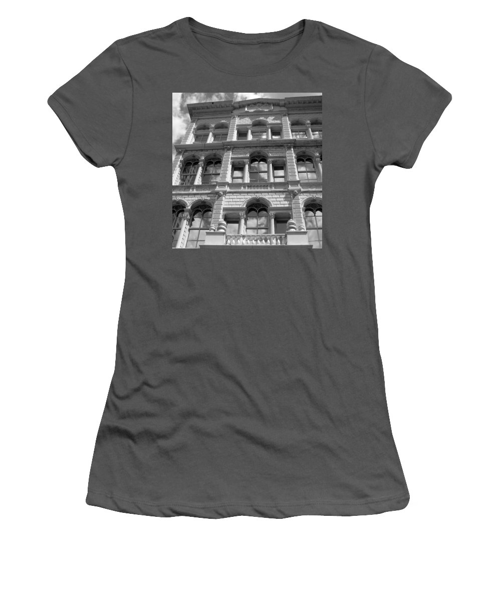 Milwaukee Women's T-Shirt (Athletic Fit) featuring the photograph Milwaukee Cloud Reflections Bw by Anita Burgermeister