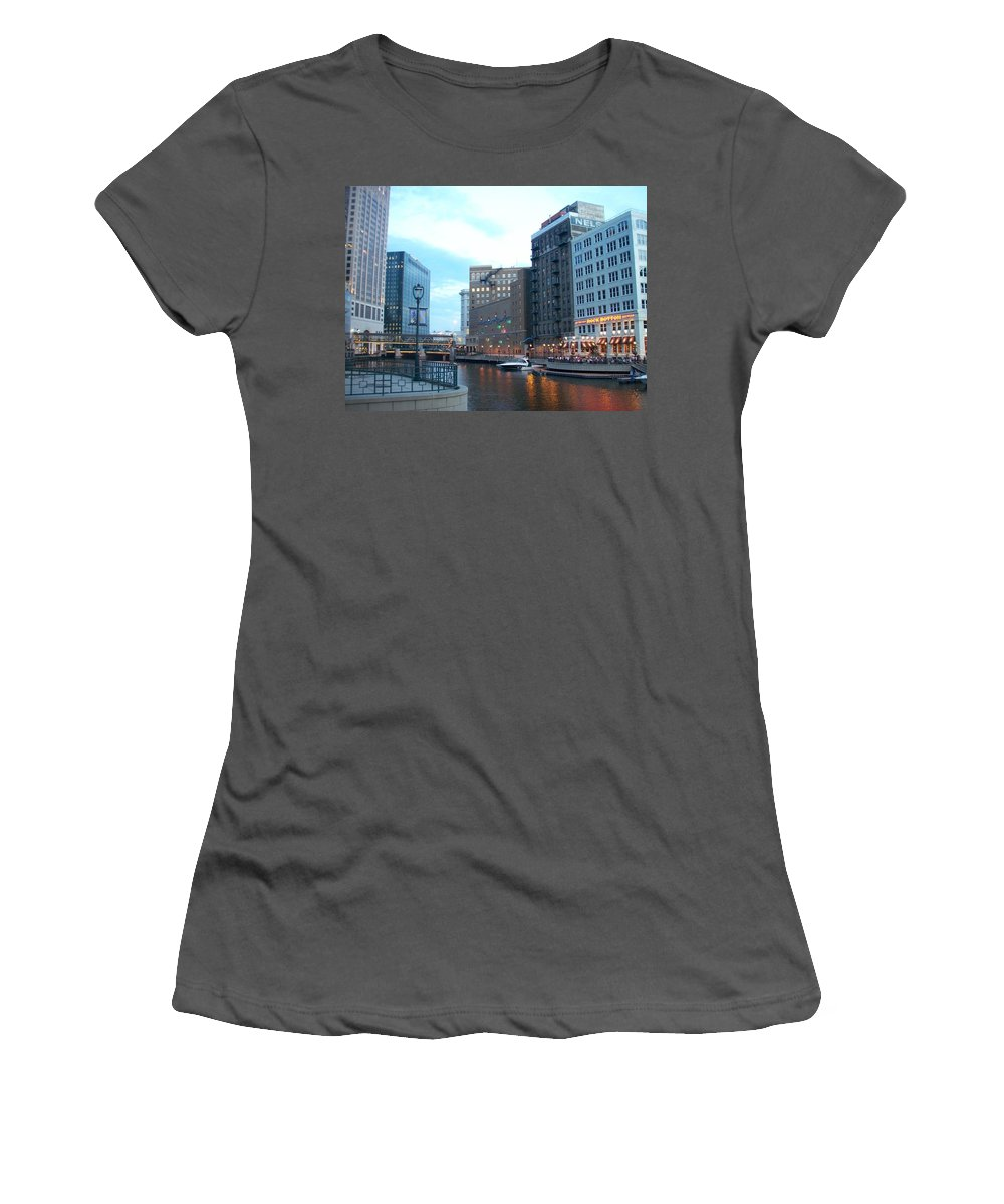 Milwaukee Women's T-Shirt (Athletic Fit) featuring the photograph Milwaukee River Walk by Anita Burgermeister
