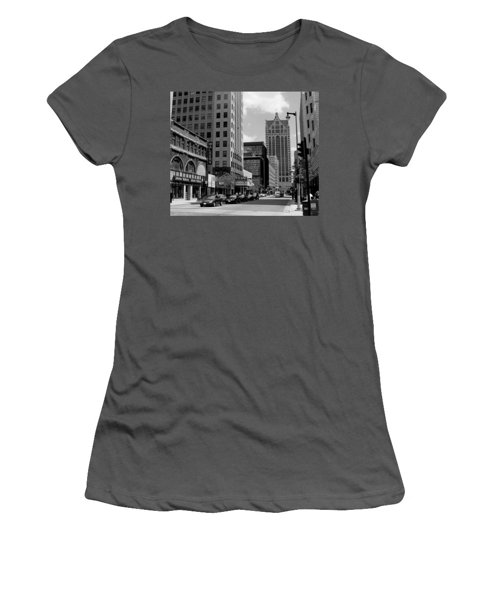 Milwaukee Women's T-Shirt (Athletic Fit) featuring the photograph Milwaukee Street Scene B-w by Anita Burgermeister