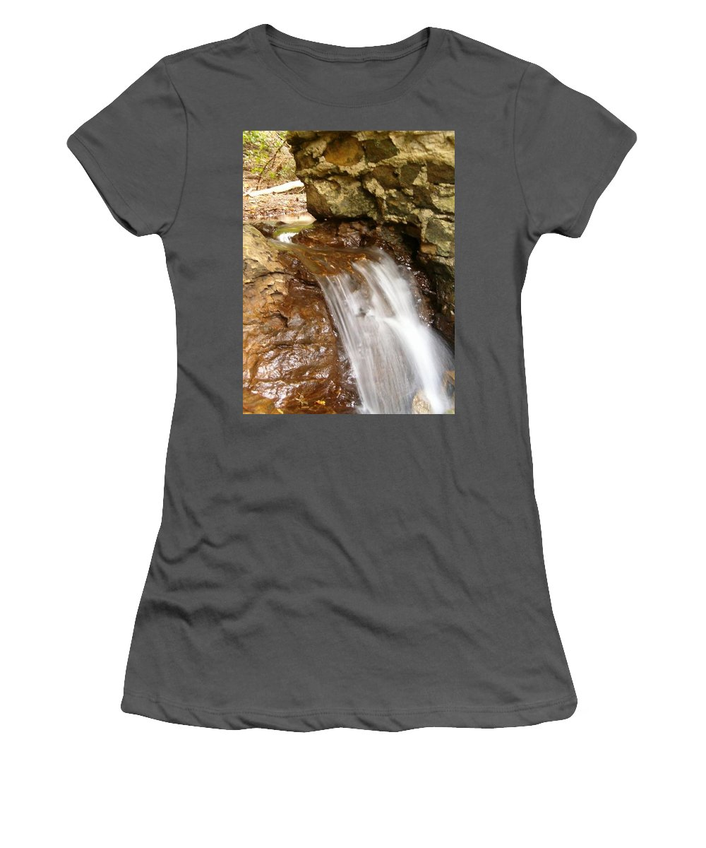 Water Women's T-Shirt (Athletic Fit) featuring the photograph Mini Falls by Sara Raber