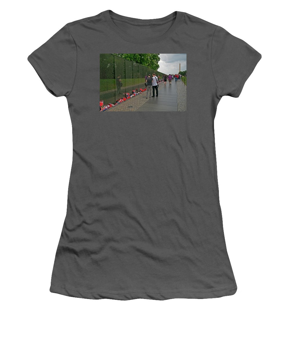 vietnam Memorial Women's T-Shirt (Athletic Fit) featuring the photograph Missing A Loved One by Paul Mangold