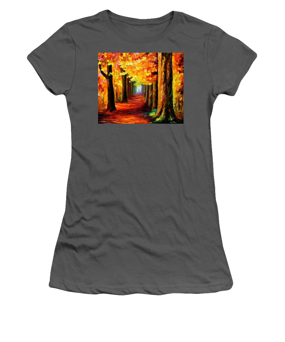 Afremov Women's T-Shirt (Athletic Fit) featuring the painting Mistery Alley by Leonid Afremov