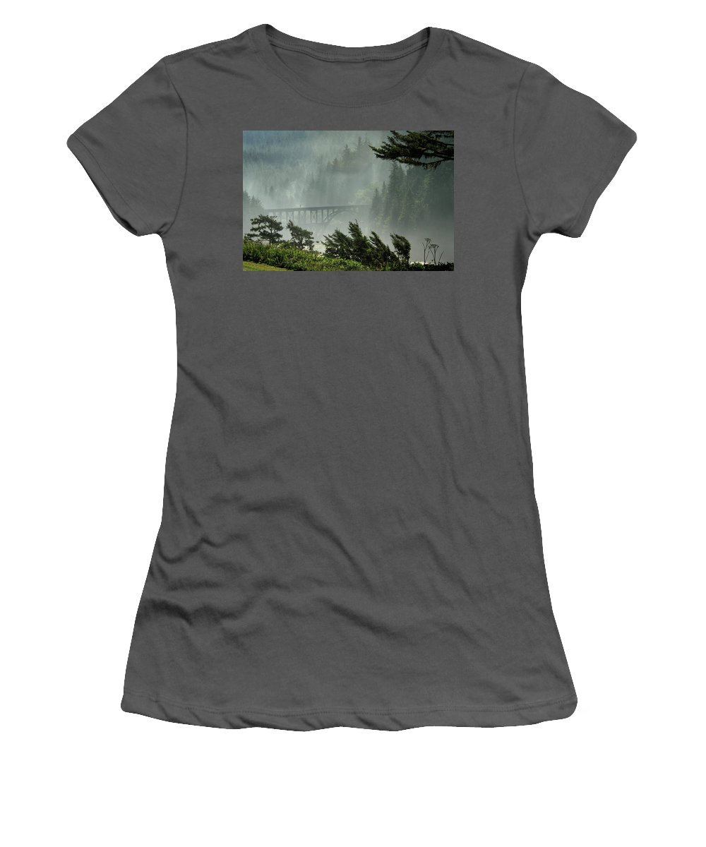 Misty Women's T-Shirt (Athletic Fit) featuring the photograph Misty Bridge At Heceta Head by James Eddy
