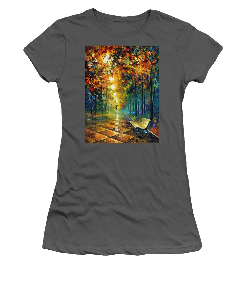 Afremov Women's T-Shirt (Athletic Fit) featuring the painting Misty Park by Leonid Afremov