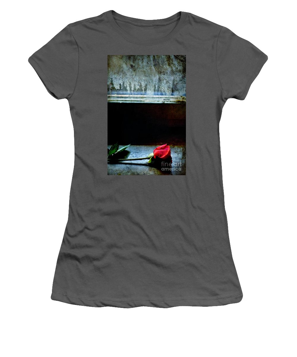 Rose Women's T-Shirt (Athletic Fit) featuring the photograph Misty Rose by Silvia Ganora