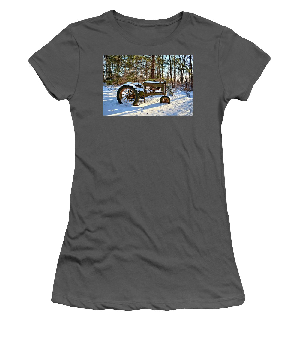 Tractor Women's T-Shirt (Athletic Fit) featuring the photograph Model A Deere 2 by Bonfire Photography