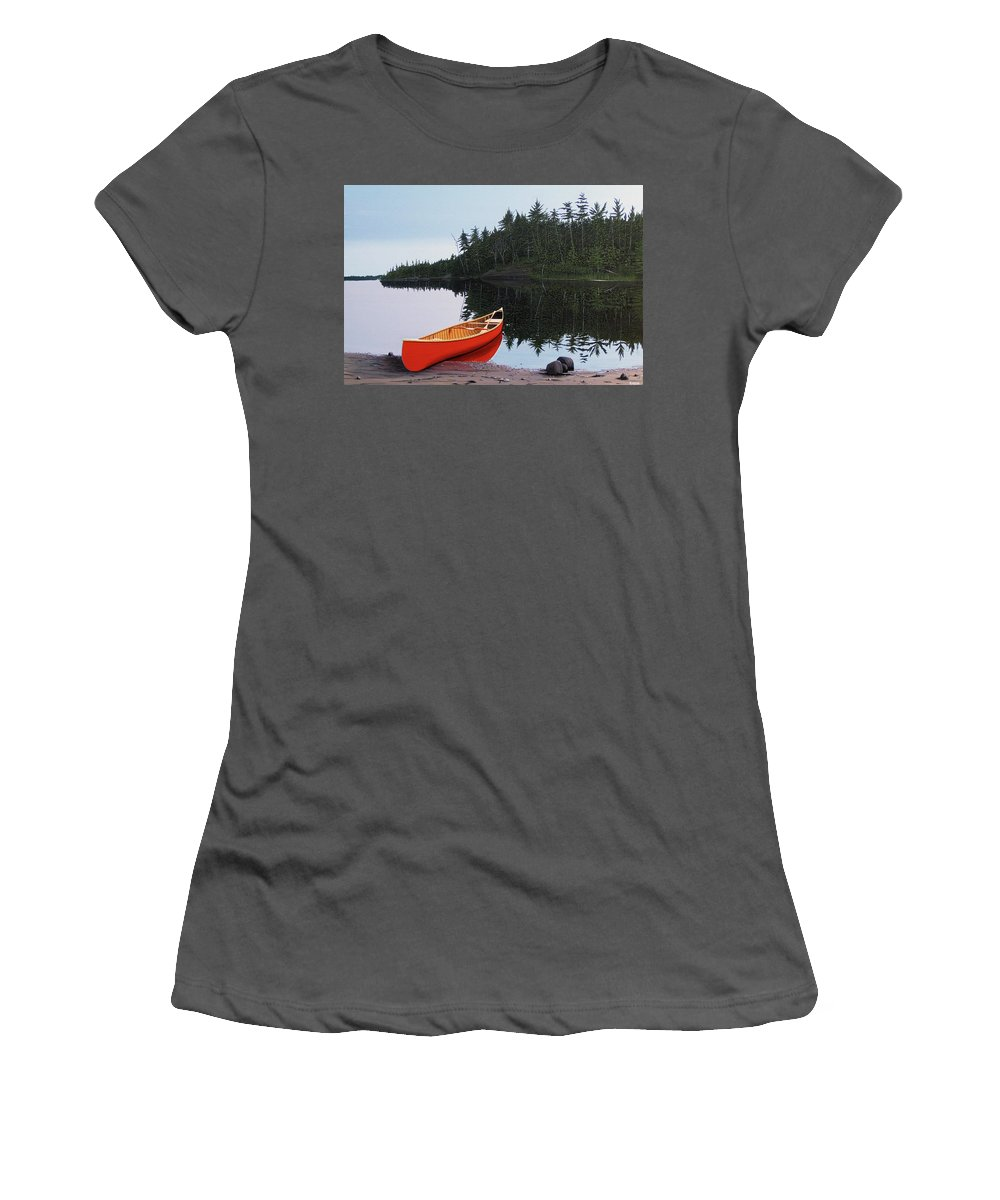 Landscapes Women's T-Shirt (Athletic Fit) featuring the painting Moments Of Peace by Kenneth M Kirsch