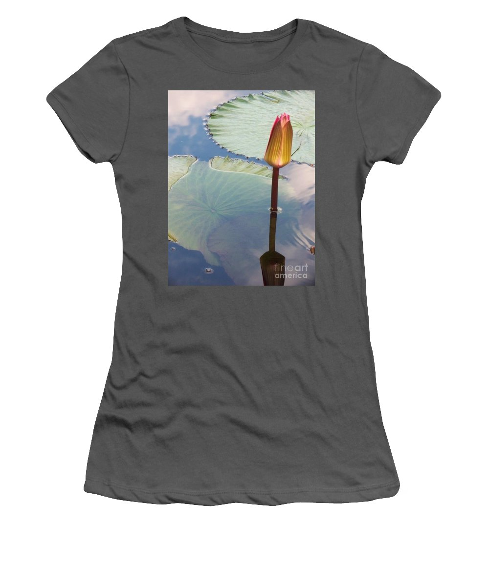 Photograph Women's T-Shirt (Athletic Fit) featuring the photograph Monet Water Lily Stem Red Orange by Eric Schiabor