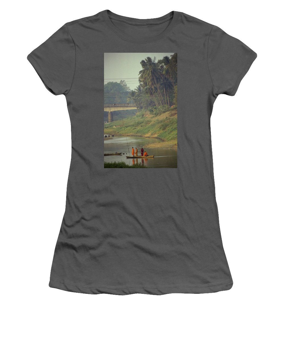 Monks Women's T-Shirt (Athletic Fit) featuring the photograph Monks - Battambang by Patrick Klauss