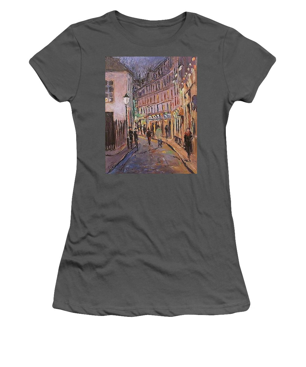 Paris Women's T-Shirt (Athletic Fit) featuring the painting Monmartre by Walter Casaravilla
