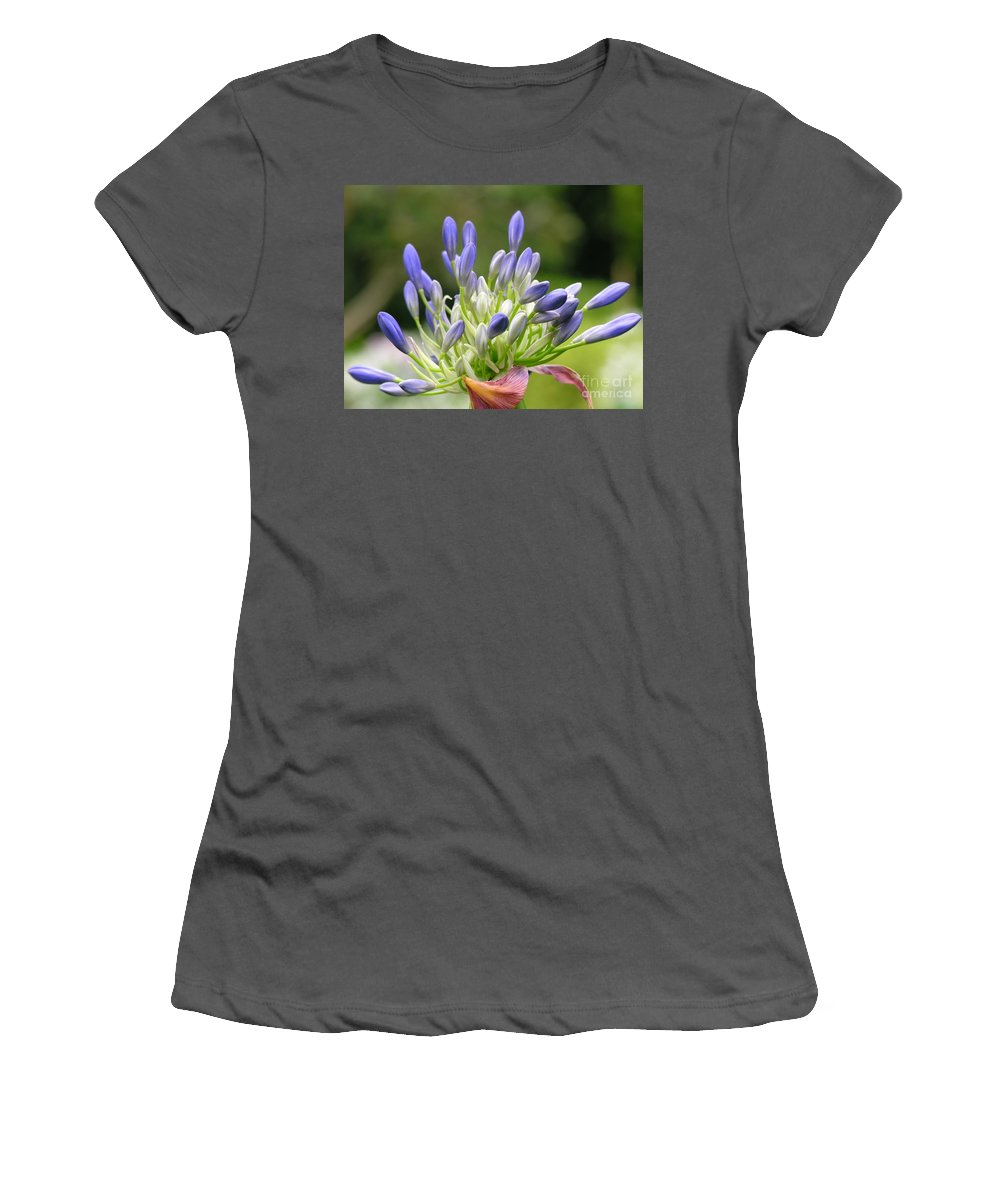Purple Women's T-Shirt (Athletic Fit) featuring the photograph Montana Flower by Diane Greco-Lesser