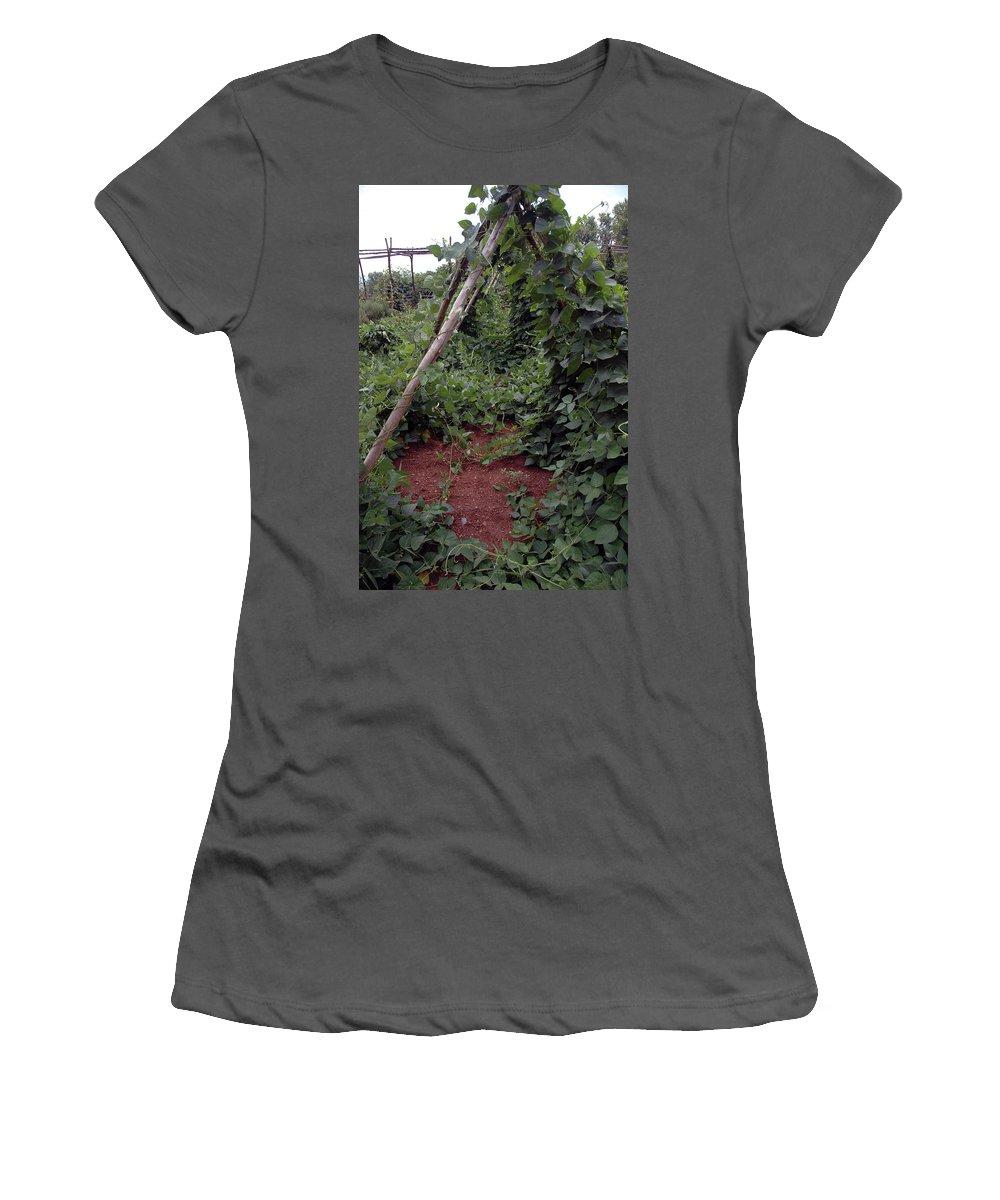Tee Pee Women's T-Shirt (Athletic Fit) featuring the photograph Monticello Vegetable Garden Tee Pee by LeeAnn McLaneGoetz McLaneGoetzStudioLLCcom