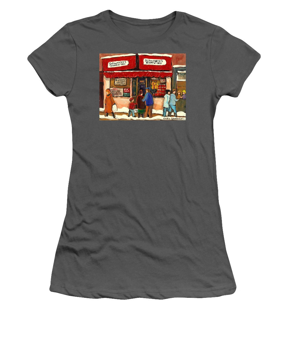 Montreal Hebrew Delicatessen Women's T-Shirt (Athletic Fit) featuring the painting Montreal Hebrew Delicatessen Schwartzs By Montreal Streetscene Artist Carole Spandau by Carole Spandau