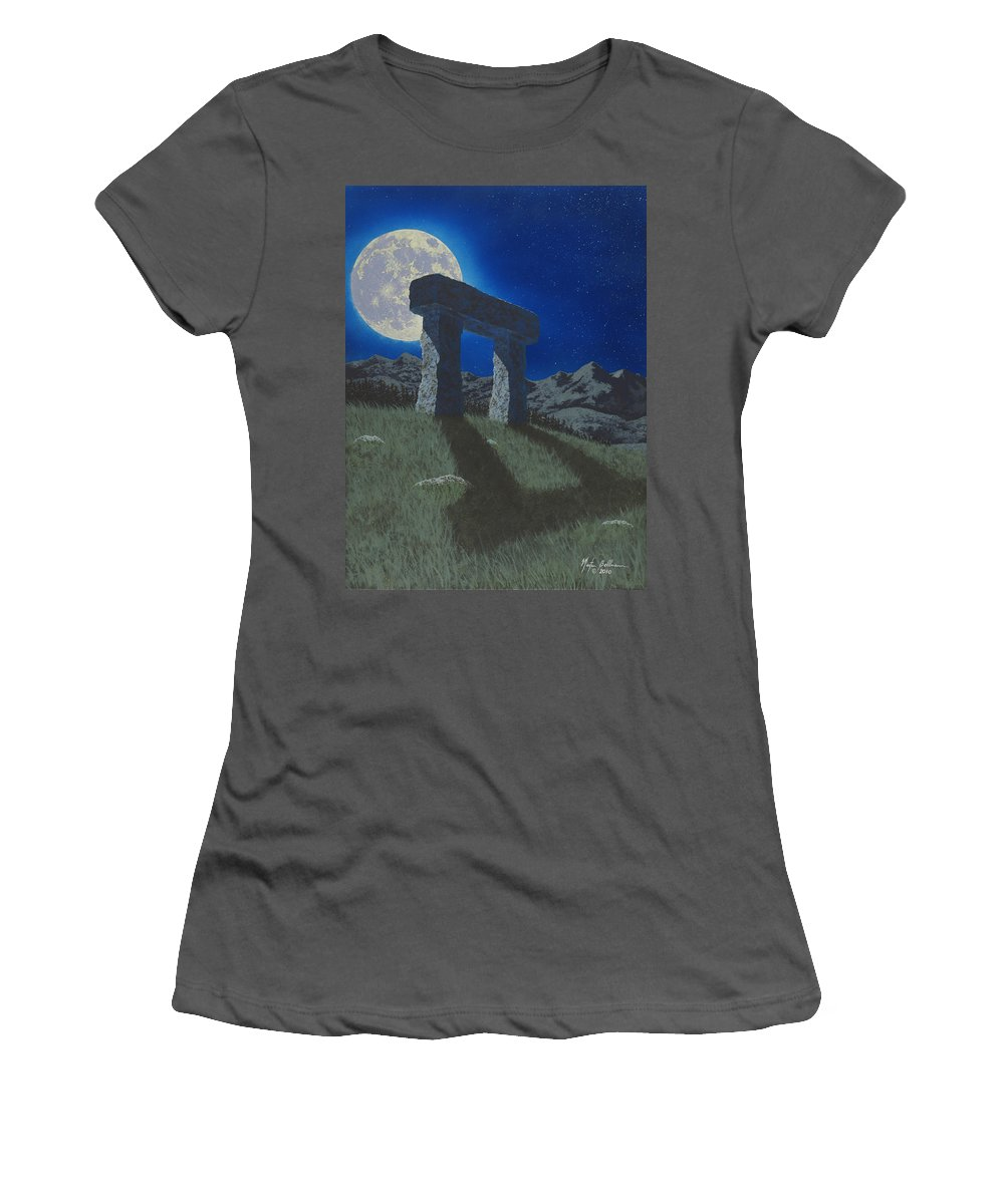 Moon Women's T-Shirt (Athletic Fit) featuring the painting Moon Gate by Martin Bellmann