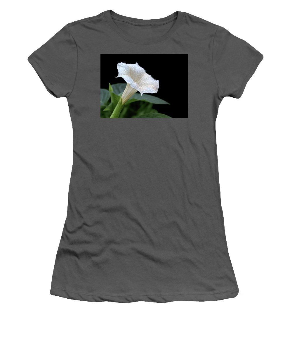 Moonflowers Women's T-Shirt (Athletic Fit) featuring the photograph Moonflower - Rain Drops by Nikolyn McDonald