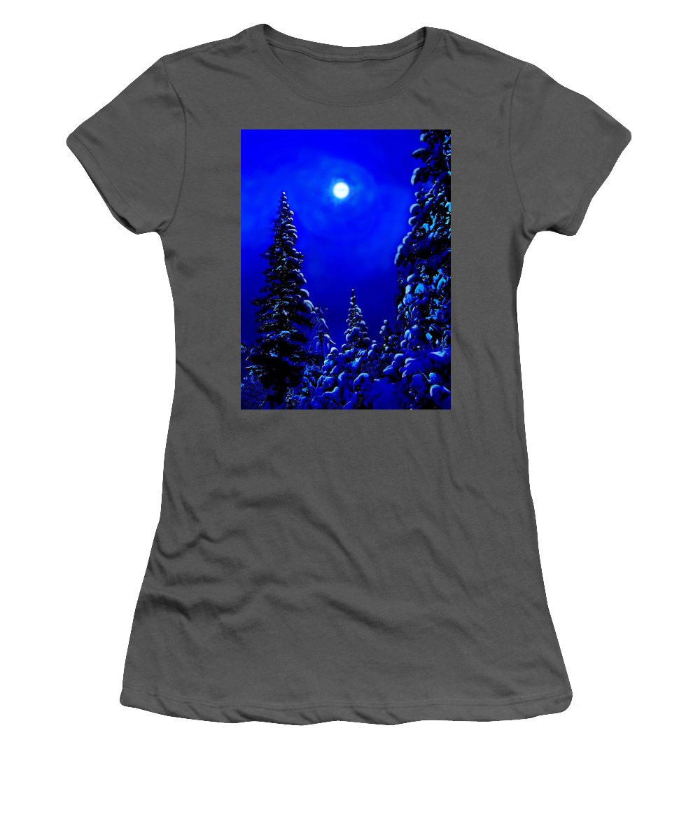 Scenic Women's T-Shirt (Athletic Fit) featuring the digital art Moonshine On Snowy Pine by Greg Hammond