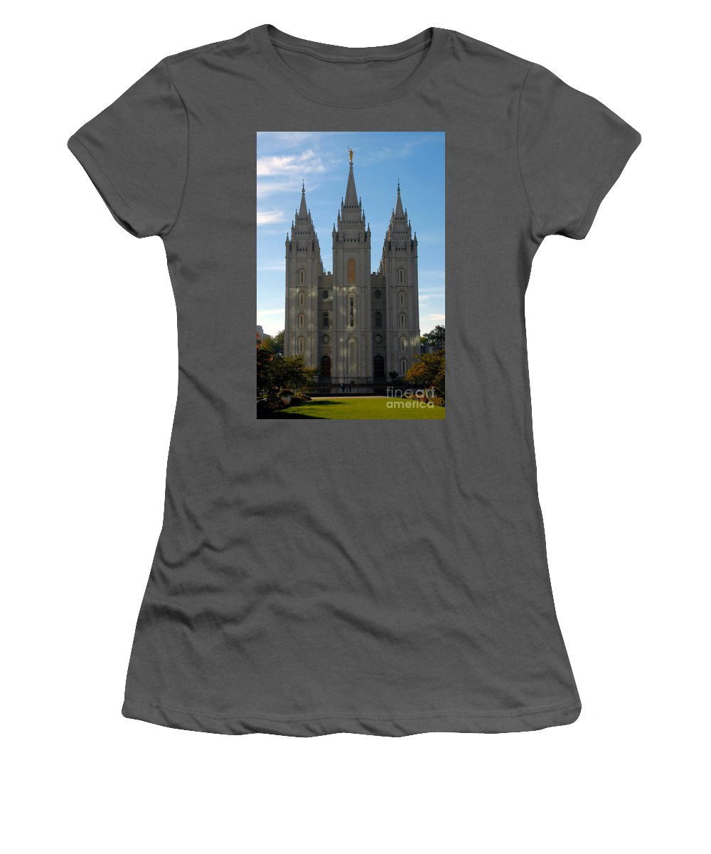 Mormon Women's T-Shirt (Athletic Fit) featuring the photograph Mormon Temple Fall by David Lee Thompson