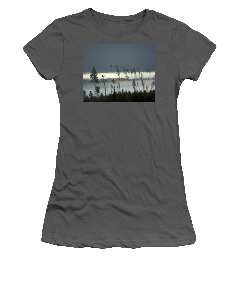 Yellowstone National Park Women's T-Shirt (Athletic Fit) featuring the photograph Morning Along The Madison by Marty Koch