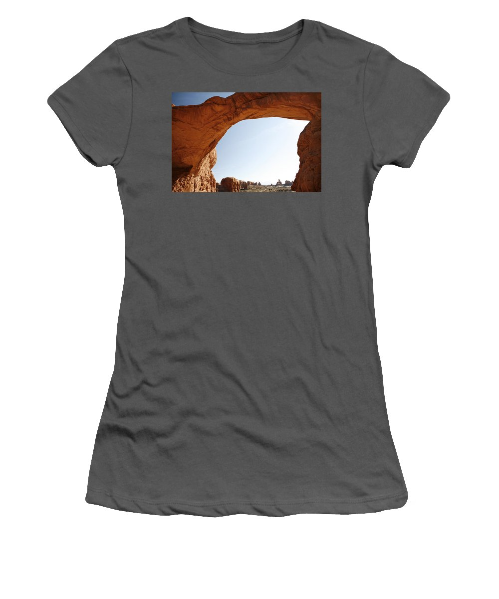Arch Women's T-Shirt (Athletic Fit) featuring the photograph Morning Arch by Marilyn Hunt