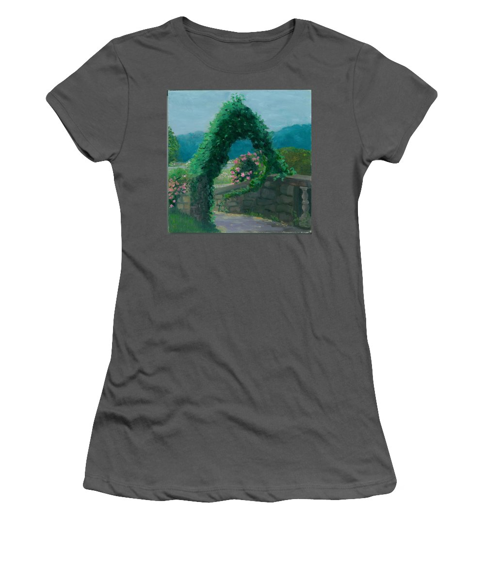 Landscape Women's T-Shirt (Athletic Fit) featuring the painting Morning At Harkness Park by Paula Emery